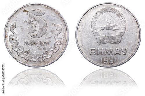 Coin 5 Mongo. Mongolia. 1981 Tableau sur Toile