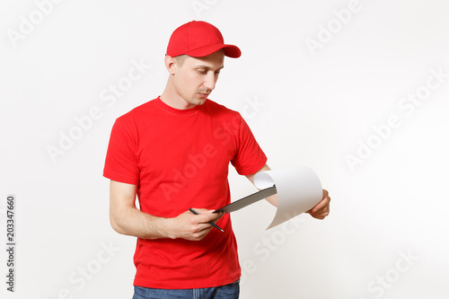 9119fc7d Delivery man in red uniform isolated on white background. Male in cap, t-