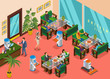 Isometric Colored Robotic Restaurant Composition
