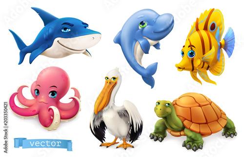 Śmieszne zwierzęta morskie i ryby. 3D zestaw ikon wektorowych