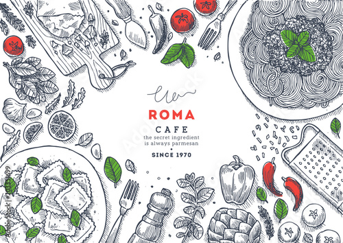 Fotografiet  Italian restaurant menu top view illustration