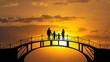 The family standing on the bridge against the bright sun. time lapse