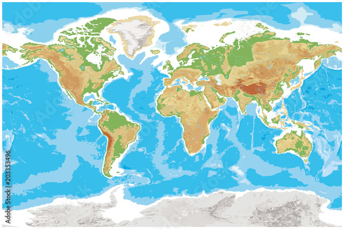 Staande foto Wereldkaart Physical map of Earth detailed topographic world