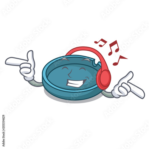 Fotografie, Tablou  Listening music ashtray mascot cartoon style