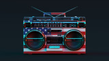 Boombox With USA Flag Moody 80s lighting 3d illustration - 203356000