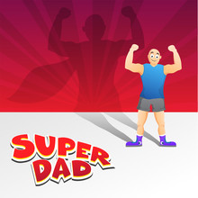 Happy Father's Day Celebration Concept With Ordinary Man Or Father Silhouette Imposing As A Super Man Or Super Father On Red Rays Background.
