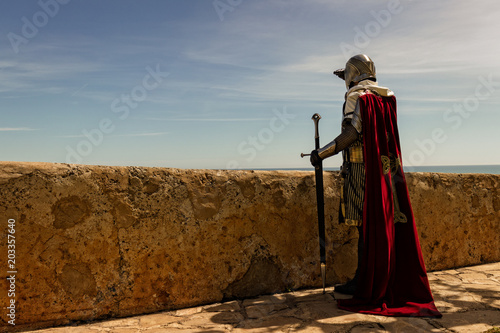 Cuadros en Lienzo Medieval Templar soldier watches the coastline from the wall