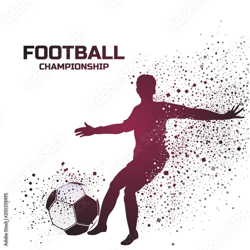 Fototapety, obrazy: Illustration of a footballer kicking the soccer ball with text Football Championship.