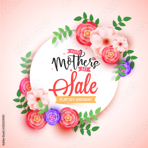 Poster Fleur Mother's Day sale banner design with beautiful flowers and upto 70% off offers.