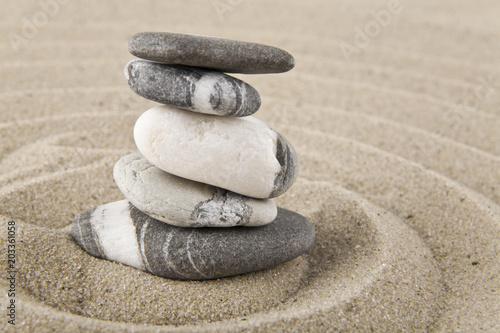 Foto op Canvas Stenen in het Zand stones on sand for relaxation as background