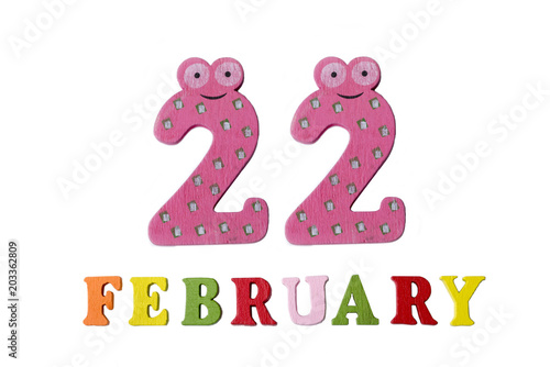 Poster  February 22 on white background, numbers and letters.