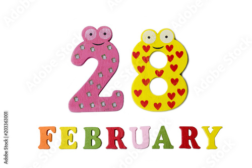 Poster  February 28 on white background, numbers and letters.