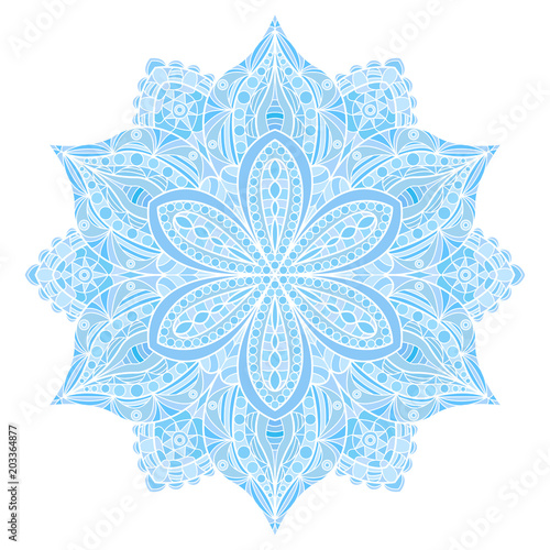 Mandala. Blue indian floral ornament Fototapeta