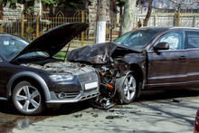 Frontal Collision Of Two Cars.