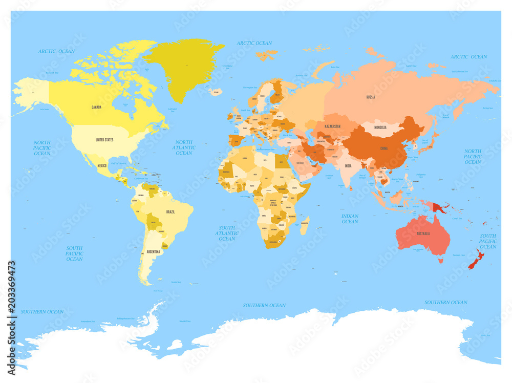 World map with names of sovereign countries and larger ...