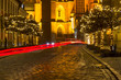 Christmas cityscape - evening view of the Cathedral of St. John the Baptist, located in the Ostrow Tumski old district of the city of Wroclaw, in Lower Silesia Province, Poland