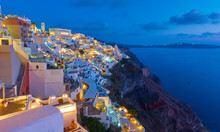 Santorini - Thira Town At Night