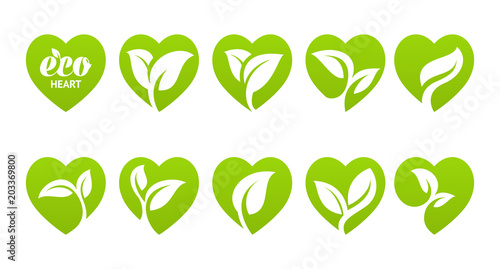 Obraz Icon set. Eco heart - fototapety do salonu