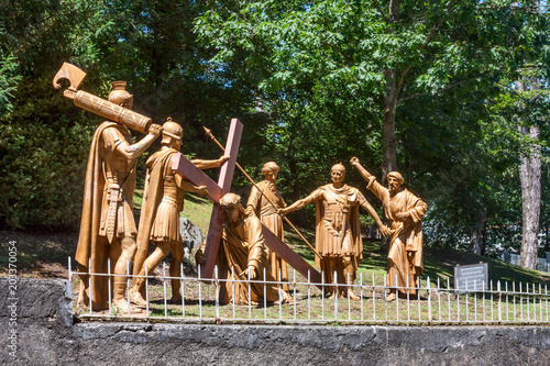Photo  The sculptural composition of the episode of the ascent of Jesus Christ to Calva