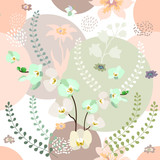 Botanical print with pastel colors palette.  - 203372045