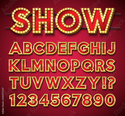 Cuadros en Lienzo  Light Bulb Alphabet with gold frame and shadow on red backgrond
