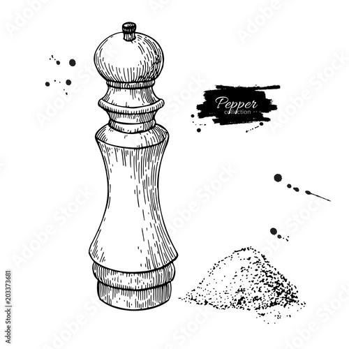 Cuadros en Lienzo Pepper and salt mill vector drawing