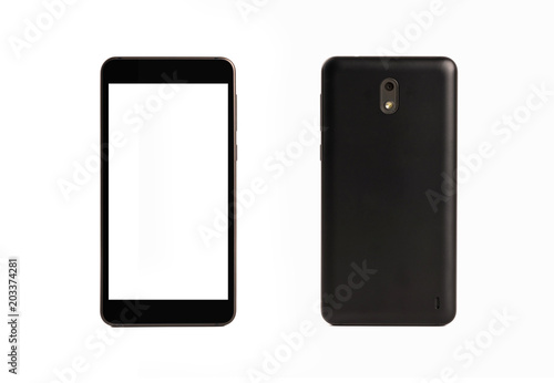 Fotomural Smartphone front and backside view isolated on white background.