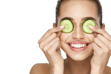 Beauty Face. Skin Care Treatment With Cucumber.