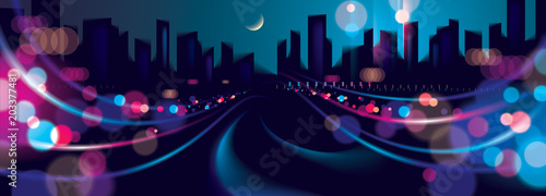 Wide panorama big city nightlife with street lamps and bokeh blurred lights Fototapeta