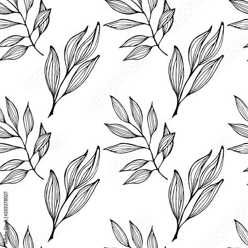 Jednolity wzór z gałęzi, na której wiele liści.