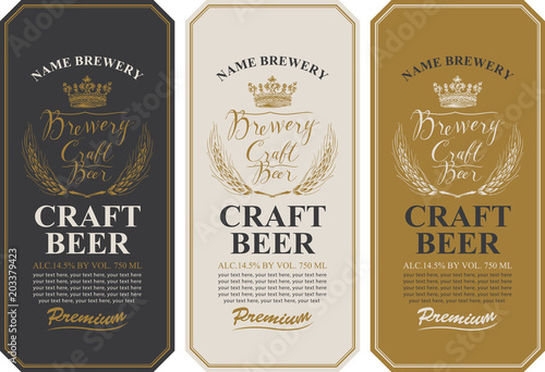 Set of three beer labels with wheat ears, handwritten inscriptions, crown and place for text Wallpaper Mural