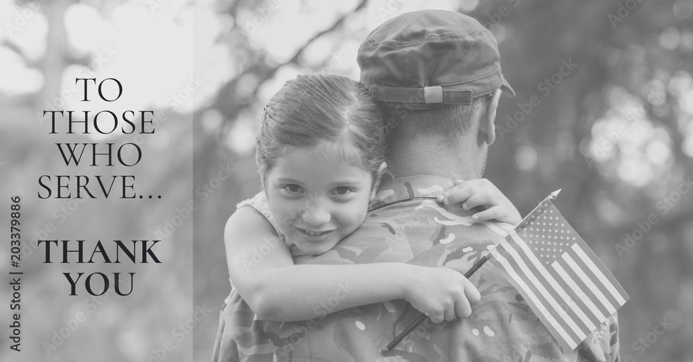 Fototapeta memorial day message with soldier and daughter holding american