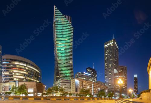 Fototapeta modern skyscrapers in the center of the Polish capital, Warsaw. obraz