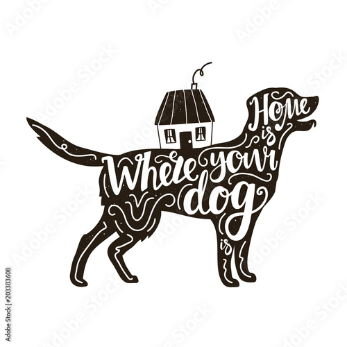 Fotografie, Obraz  Vector illustration with Golden Retriever silhouette, house and lettering text - Home is where your dog is