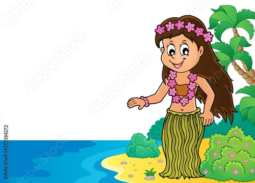 Staande foto Voor kinderen Hawaiian theme dancer image 2