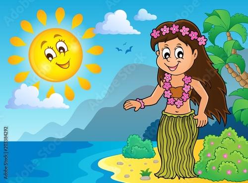 Staande foto Voor kinderen Hawaiian theme dancer image 3