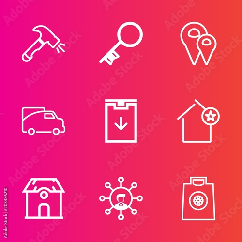 Premium set with outline vector icons  Such as gps, safe