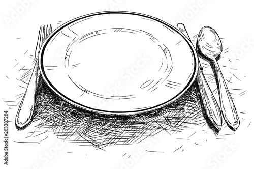 Obraz na plátně Vector artistic pen and ink drawing illustration of empty plate, knife and fork