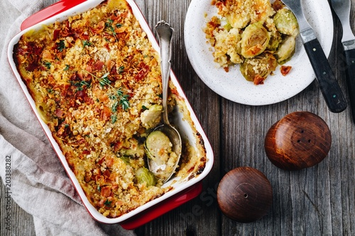 Baked brussel sprout gratin with a bacon and bread crumbs