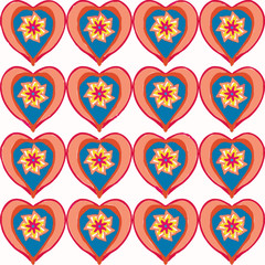 Seamless pattern with a decorative heart