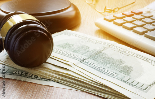 Bail bond concept. Gavel and dollar banknotes. Canvas Print