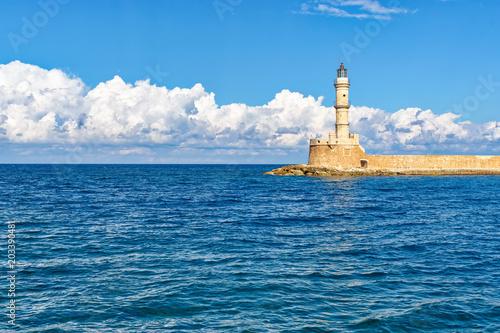 Fotobehang Mediterraans Europa Lighthouse in the Old Venetian Harbour in Chania . Crete. Greece.