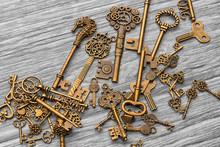 Vintage Antique Keys On A Ligh...
