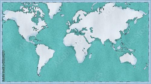 Cartina Mondo Immagini.Cartina Mondo Disegnata Illustrata Pennellate Cartina Geografica Fisica Stock Illustration Adobe Stock