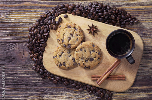 Poster Dessert Coffee with chocolate cookies