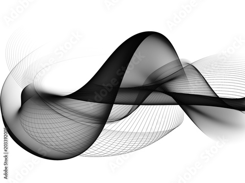 Fototapety, obrazy:     Abstract Black And White Wave Design