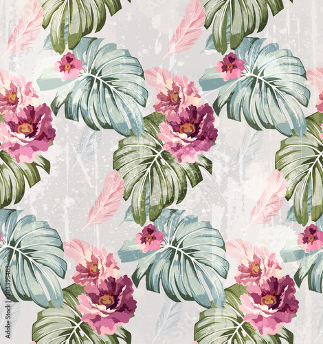 Summer watercolor flowers Vector. Vintage roses backgrounds