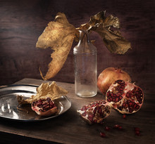 Beautiful Vintage Still Life With Pomegranate