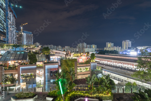 Office and residential buildings in Singapore at evening Poster