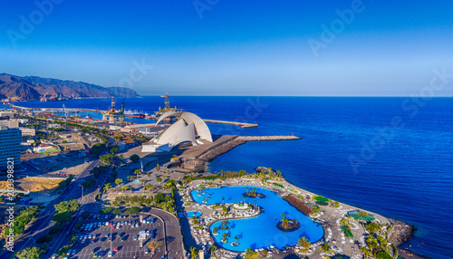 Aerial view of Santa Cruz de Tenerife skyline along the coast, Canary Islands, Spain
